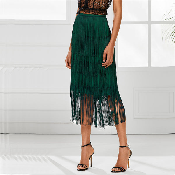 Green Tiered Fringe Pencil Skirt