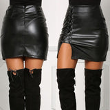 High Waist Black Faux Leather Mini Skirts