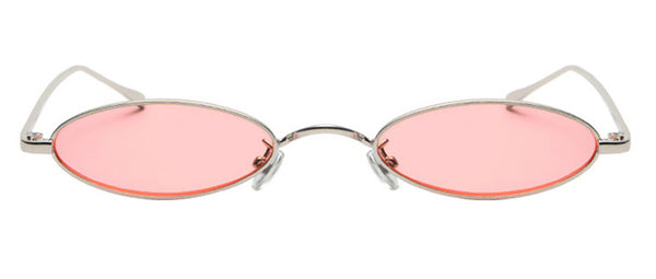 Vintage Slender Oval Sunglasses Small Metal Frame Candy Colors Ladies