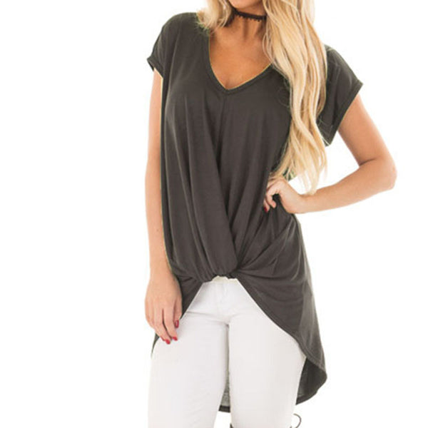 Women V Neck Loose ICasual Short Sleeve