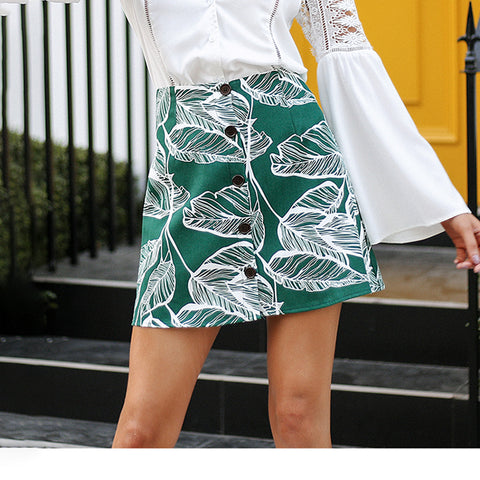 Tropical leaf print women skirt