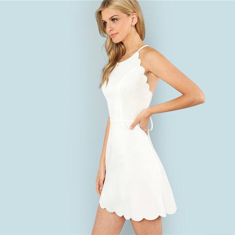 Fit And Flare Scalloped Trim Cami Dress