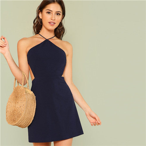 Women Navy Sleeveless Backless Mini Dress