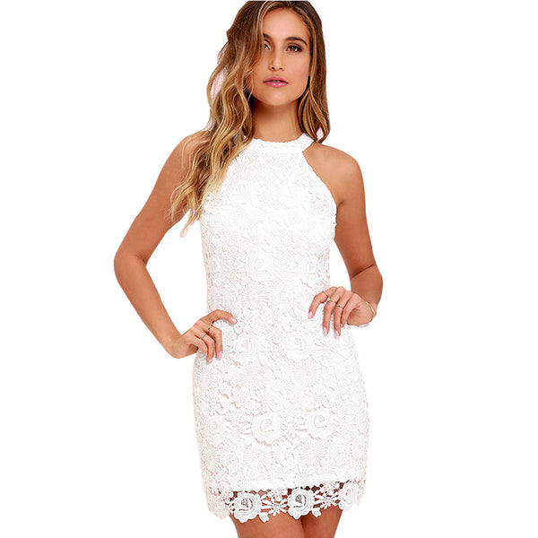 Halter Floral Lace Dress