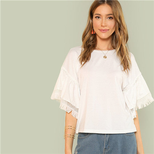 White Lace Sleeve Woman Top Tee