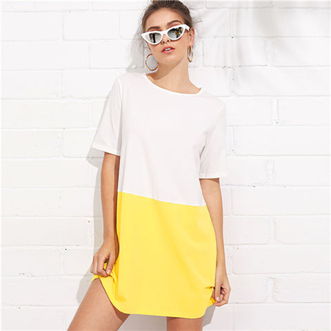 Multicolor Casual White And Yellow Dress