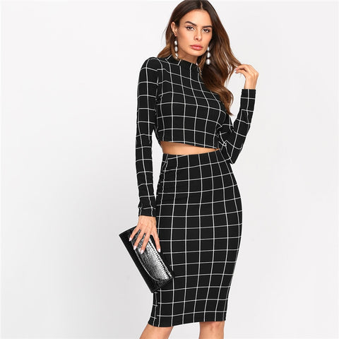 Stand Collar Long Sleeve 2 Piece Set Women Crop Grid Top & Pencil Skirt