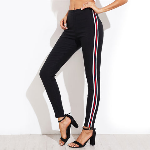 Ladies Side Striped Skinny Pants
