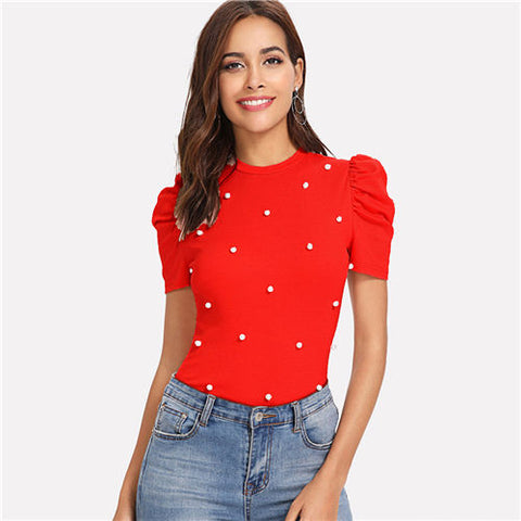 Red Pearl Beading Top