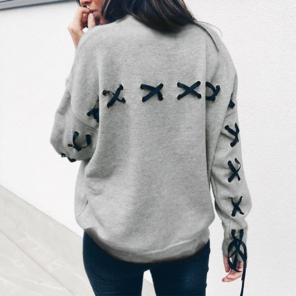 Women Casual Solid Lace Up Sweatshirts