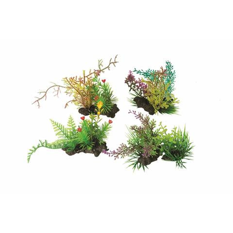 Aquatop 4- Pack Assorted Green with Colorful Accents Plant Decor
