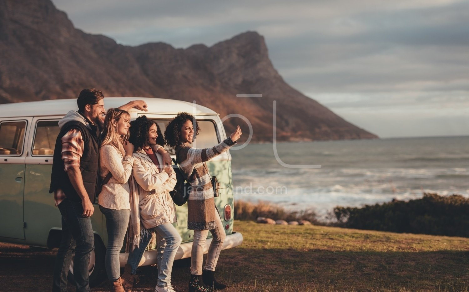 Friends On Roadtrip Together Taking A Selfie Jacob Lund Photography Store Premium Stock Photo