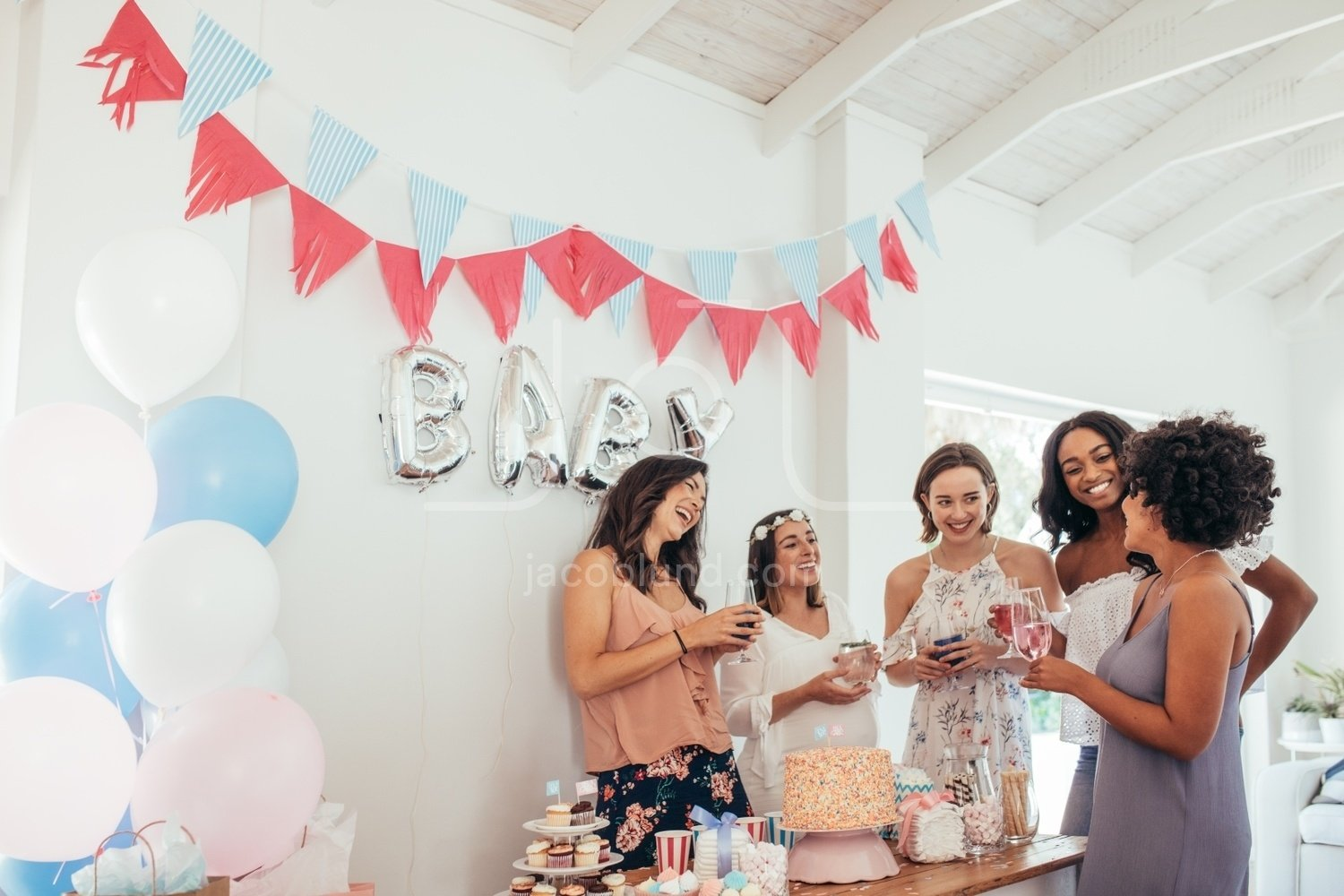 Pregnant Woman Celebrating Baby Shower With Friends Jacob Lund Photography Store Premium Stock Photo