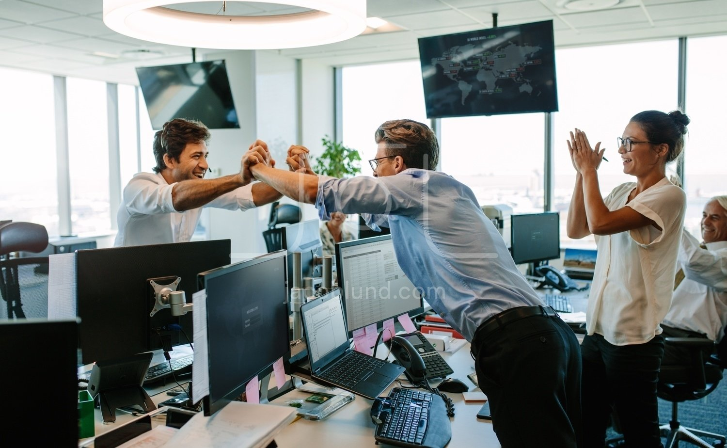 Business People Celebrating Success In Office Jacob Lund Photography Store Premium Stock Photo