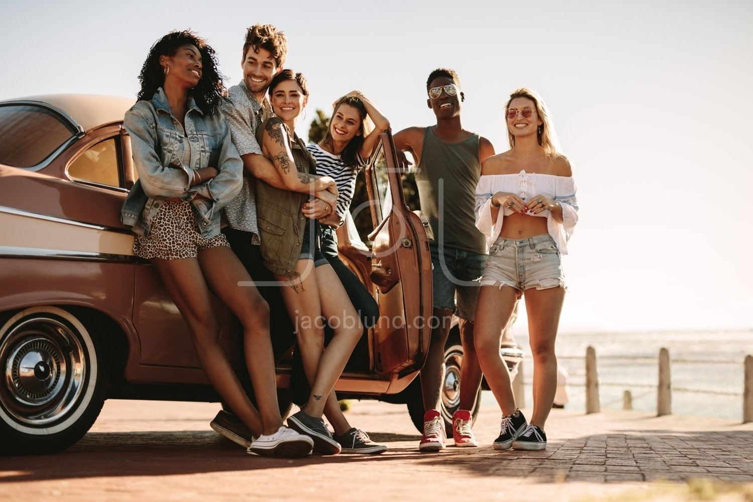 Diverse Group Of Friends On A Summer Road Trip Jacob Lund Photography Store Premium Stock Photo