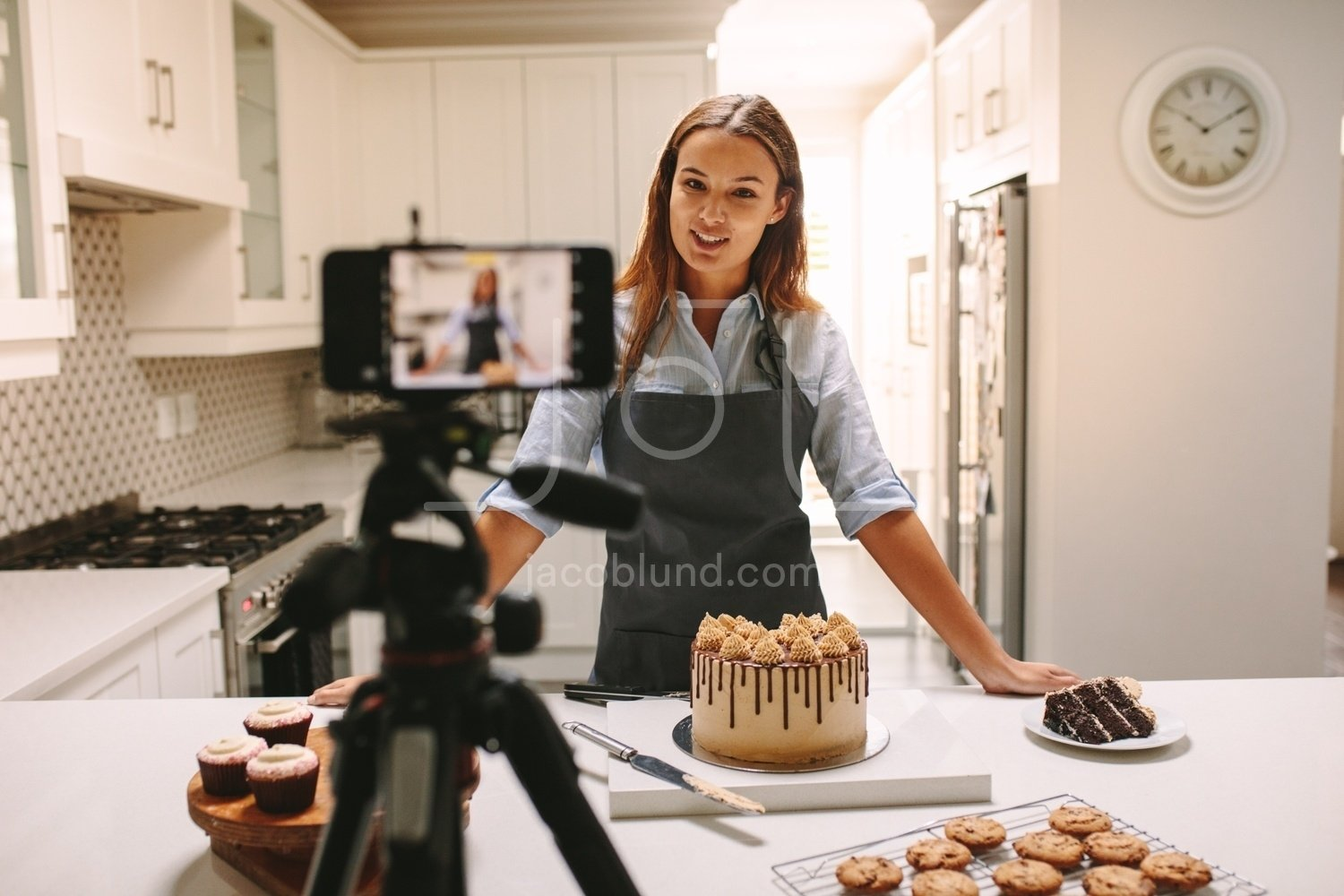 Woman Vlogger Recording Video For Food Channel Jacob Lund Photography Store Premium Stock Photo