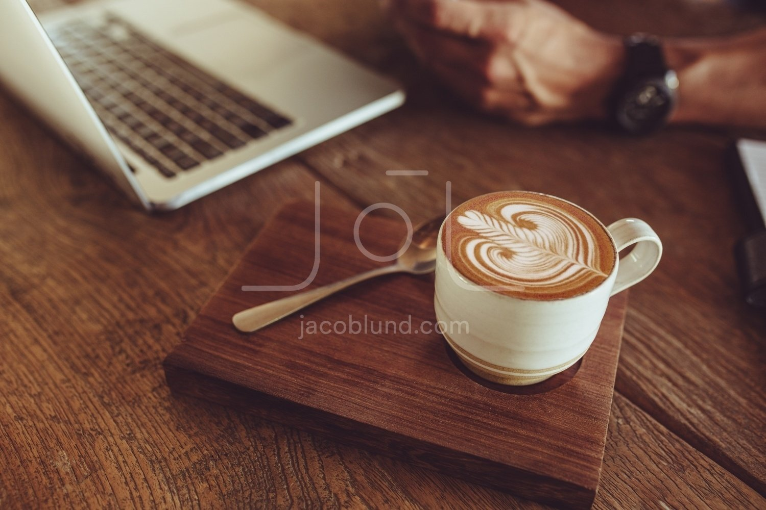 Coffee With Latte Art On Cafe Table Jacob Lund Photography Store Premium Stock Photo