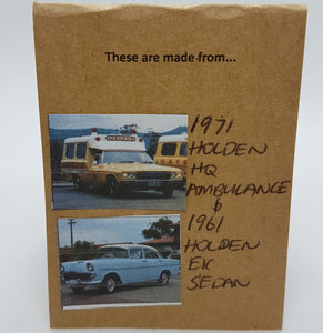 Two Tier Yellow Holden Ambulance + Pitted Blue Holden EK Earrings