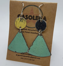 Load image into Gallery viewer, Two Tier Valetta Green Holden EK + Hammered Sterling Silver Earrings