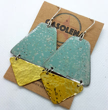 Load image into Gallery viewer, Two Tier Pitted blue + Hammered Brass Earrings