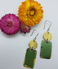 Load image into Gallery viewer, Two Tier Super Mint Holden HZ + Hammere Brass Earrings