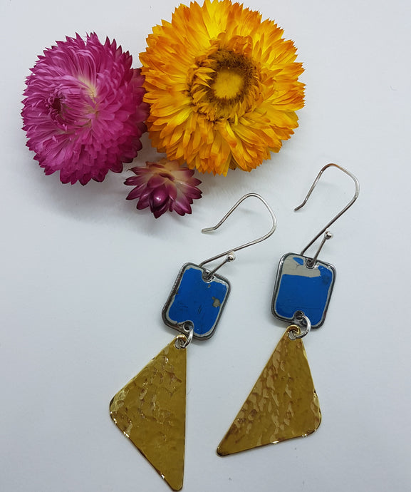 Two Tier Leyland Moke + Hammered Brass Earrings