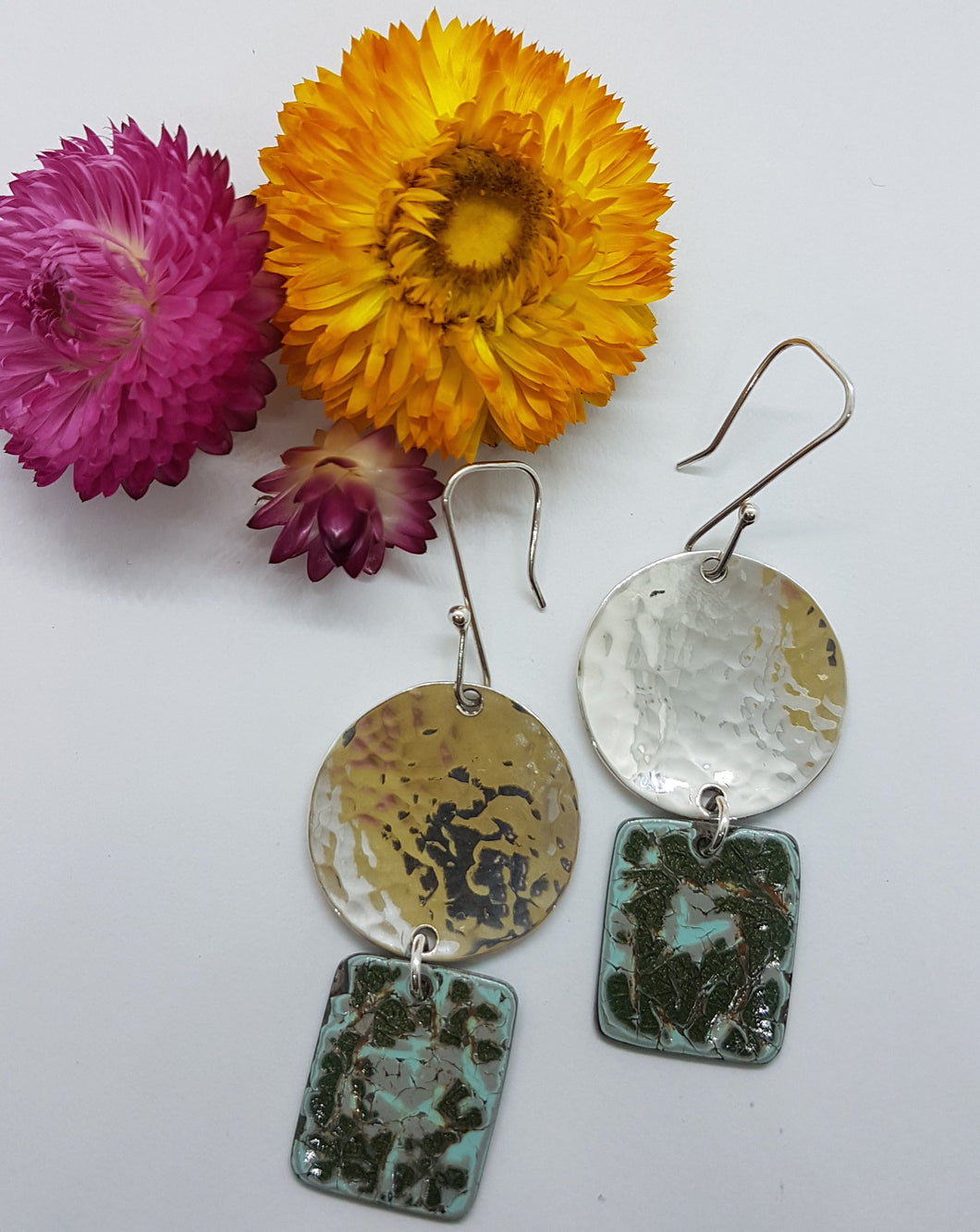 Two Tier confetti Holden EH + Hammered Sterling Silver Earrings