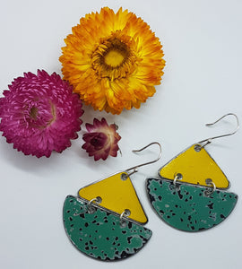 Two Tier Yellow Holden Ambulance + Pitted Turquoise Holden EK Earrings