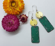 Load image into Gallery viewer, Two Tier Pitted Turquoise + Hammere Brass Earrings