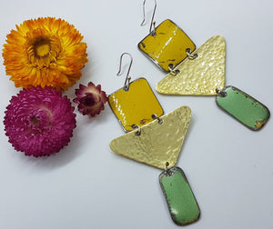 Three Tier Yellow Holden Ambulance + Hammered Brass + Super Mint Holden Kingswood Earrings