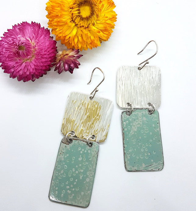 Two Tier Pitted Blue + Hammered Sterling Silver Earrings