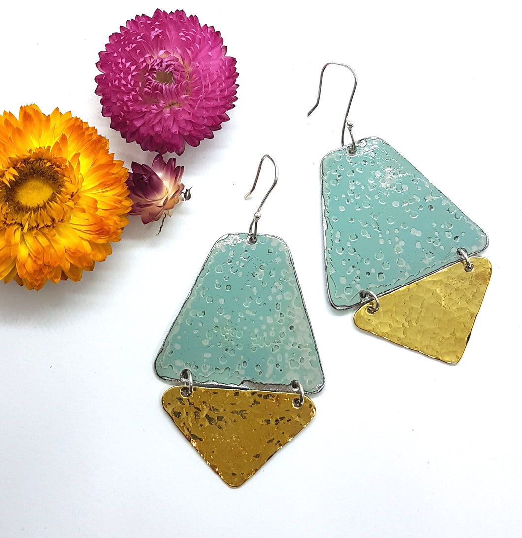 Two Tier Pitted blue + Hammered Brass Earrings