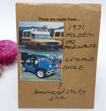 Load image into Gallery viewer, Three Tier Yellow Holden Ambulance + Deep Blue Leyland Moke + Hammered Sterling Silver Earrings
