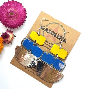 Three Tier Yellow Holden Ambulance + Deep Blue Leyland Moke + Hammered Sterling Silver Earrings