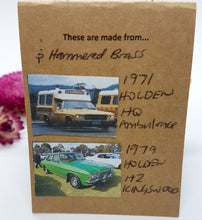 Load image into Gallery viewer, Three Tier Yellow Holden Ambulance + Hammered Brass + Super Mint Holden Kingswood Earrings