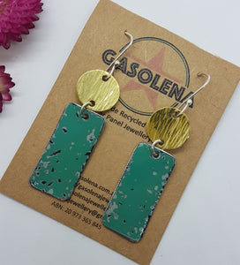 Two Tier Pitted Turquoise + Hammere Brass Earrings