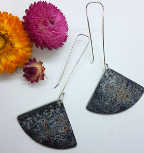 Fan Dangle Pitted Patina Drop Earrings