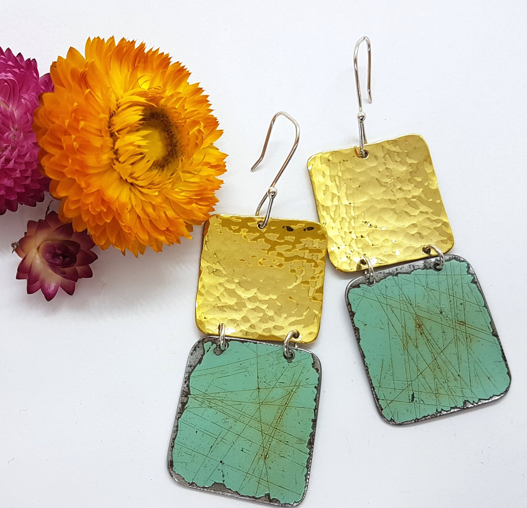 Two Tier Hammered Brass + Valetta Green Holden EK Earrings