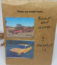 Load image into Gallery viewer, Two Tier Red Burnt out Bomb + Orange Renault 16 Earrings