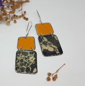 Two Tier Orange Renault 16 + Mystical burnt out bomb Earrings