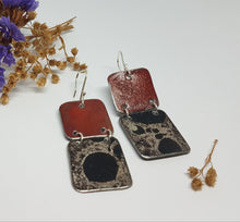 Load image into Gallery viewer, Two Tier Red Burnt out Bomb + Mystical burnt out bomb Earrings