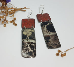 Two Tier Red Burnt out Bomb + Mystical burnt out bomb long Earrings