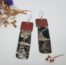 Load image into Gallery viewer, Two Tier Red Burnt out Bomb + Mystical burnt out bomb long Earrings