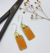 Load image into Gallery viewer, Two Tier Hammered Brass + Orange Renault 16 Earrings