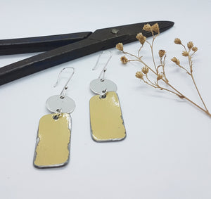 Two Tier Hammered Sterling Silver + Sand Beige Renault 16 Earrings
