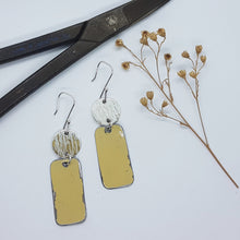 Load image into Gallery viewer, Two Tier Hammered Sterling Silver + Sand Beige Renault 16 Earrings