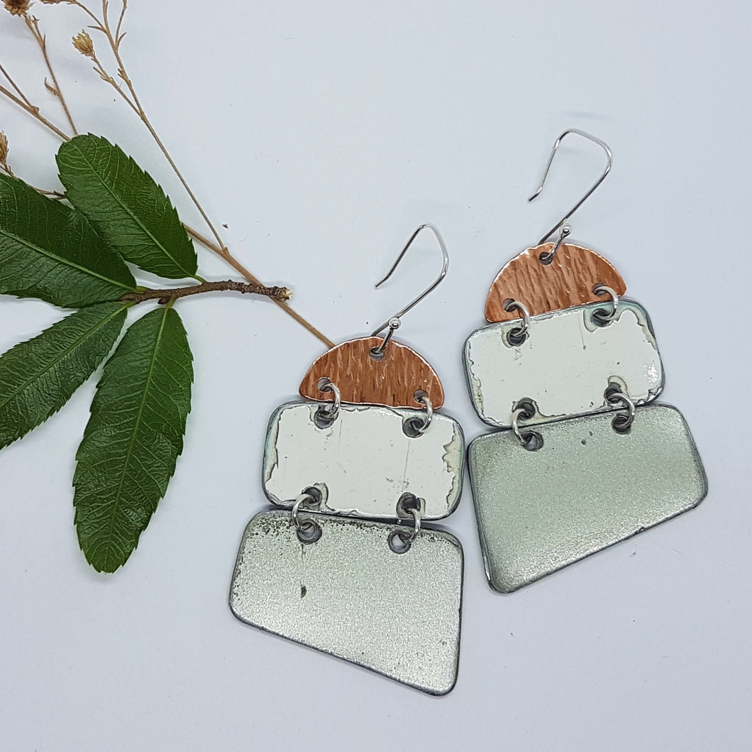 Three tier Hammered Copper, White Kombi, Moss Green Renault 16 earrings