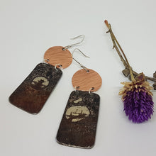 Load image into Gallery viewer, Two Tier hammered Copper + Burnt out Bomb Earrings