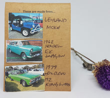 Load image into Gallery viewer, Three Tier Deep Blue Leyland Moke + Twilight Turquouse Holden EK + Super Mint Holden Kingswood