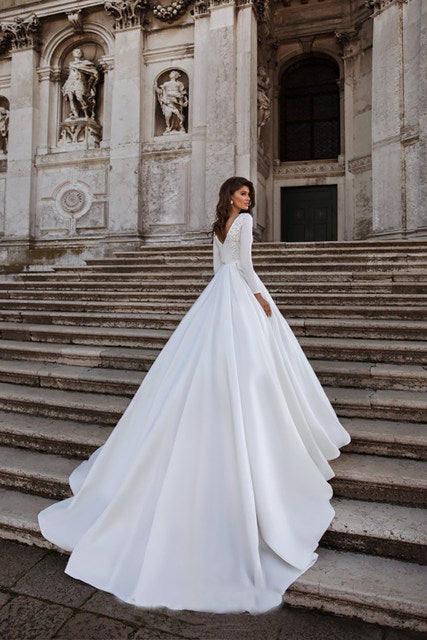 A-line Wedding Dress Ivory Satin Wedding Gowns Elegant Long Sleeve Bride Dress Abito Da Sposa 2020 - LiveTrendsX